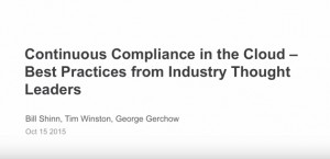 Continuous Compliance in the AWS Cloud webinar