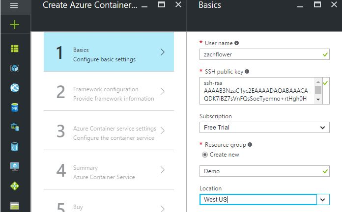azure container creation screen