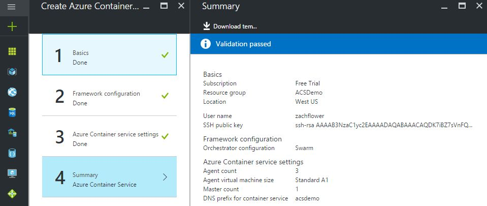 azure container service summary screen