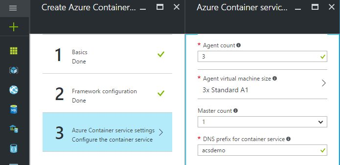 adjusting azure container service settings
