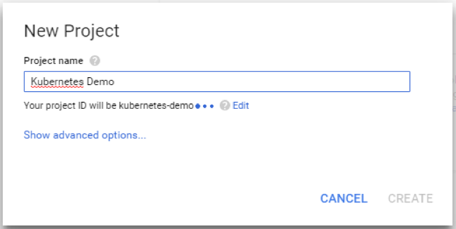 creating a new project in google cloud platform