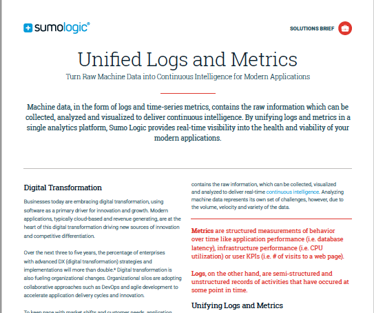 Unified Logs and Metrics Solution Brief
