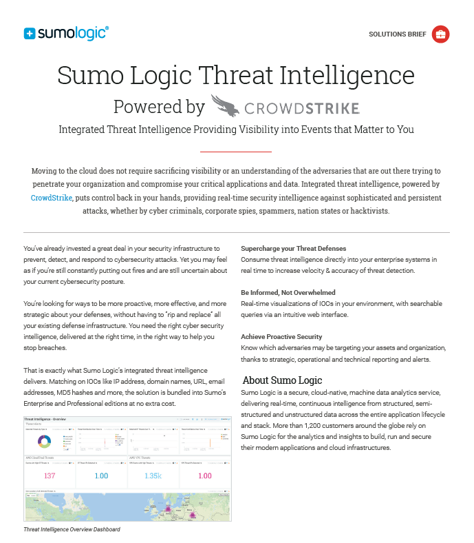Sumo Logic Threat Intelligence