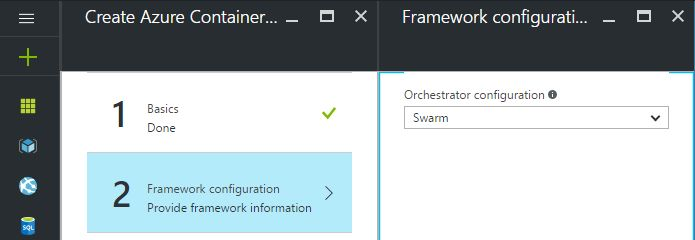 azure container framework configuration screen