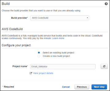 Configure the Build to use a CodeBuild Project