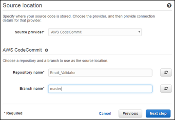 Setting source to codecommit repository screen