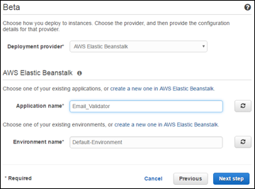 elastic beanstalk deployment setting