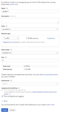 kubernetes cluster creation dashboard