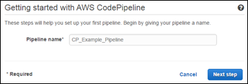 naming your AWS CodePipeline